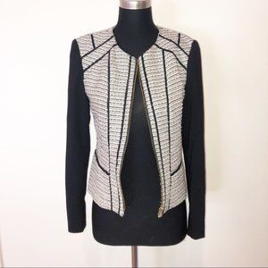 Calvin Klein Black Boucle Blazer Jacket Gold Zip